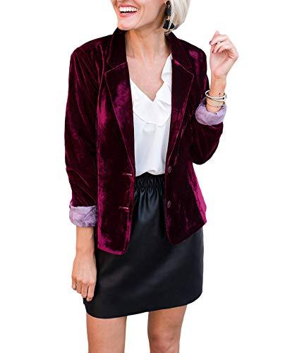SEMATOMALA Women's Velvet 2 Button Blazer Casual Lapel Office Coat Slim Fit Work Jacket Vintage Business Suit(WR,XL) Wine Red