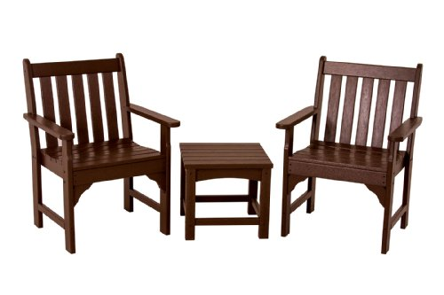 Hot Sale POLYWOOD PWS142-1-MA Vineyard 3-Piece Garden Chair Set, Mahogany