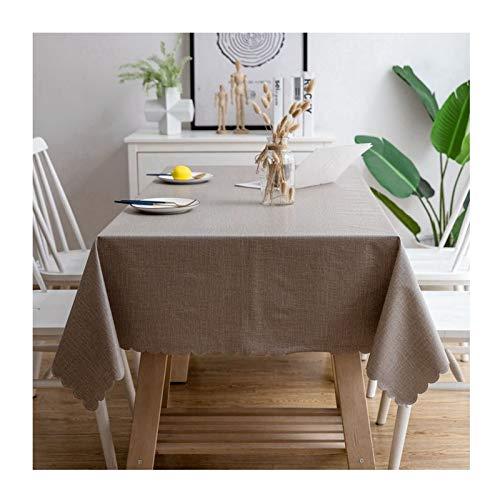 AMDXD Mantel PVC Mesa, Color Sólido Mantel Antimanchas Rectangular Fácil de Limpiar, para Jardín, Habitaciones, Decoración de Mesa, Marrón Claro, 100x160CM