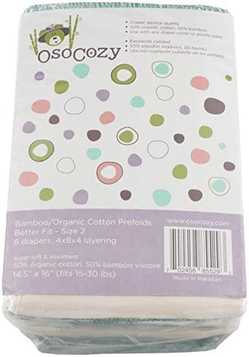 OsoCozy Bamboo Organic Prefolds Ultra Soft Cotton Blend Baby Diapers Eco Friendly Diaper Premium product image