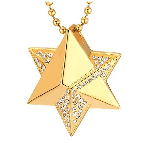 COOLSTEELANDBEYOND Color Oro Convexo Estrella de David Pirámide Colgante con Zirconio Cúbico, Collar con Colgante de Hombre Mujer, Acero