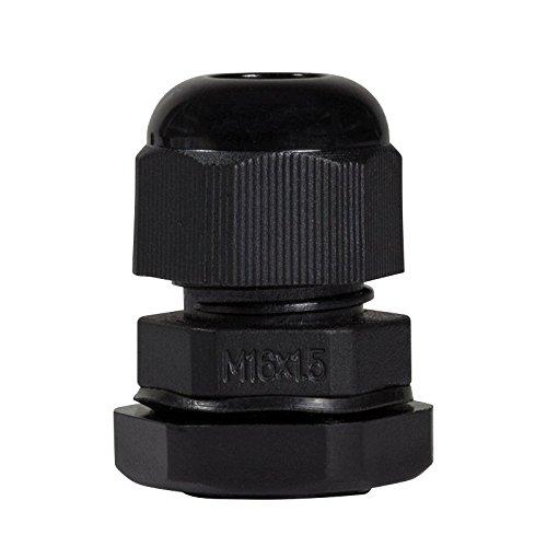 Faconet® 10x Kabelverschraubung M16 schwarz, Netzwerkkabel LAN sichern Schutz Zugentlastung 10er Set, IP68, Cable Gland (M16 Black)