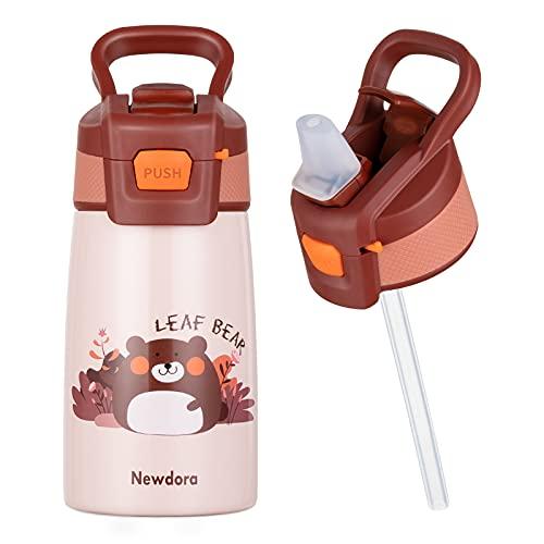 Newdora Trinkflasche Kinder,Trinkflasche Edelstahl ,Wasserflasche 350ml,BPA Frei ,Auslaufsicher mit Strohhalm ,Flasche für Schule, Kindergarten (Bär)