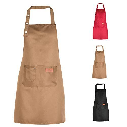 Bedogni Reggio Emilia Delantal de cocina para hombre y mujer con bolsillos, apto para tallas fuertes, resistente al agua marrón Talla única