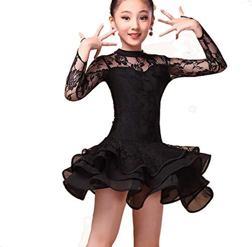 Mädchen-Spitze mit Langen Ärmeln Latin Tanzkleidung Standard-Kinder Latein-Wettbewerb Tanz-Kleid Kinder Salsa Standardtanz-Kostüme,Schwarz,140CM