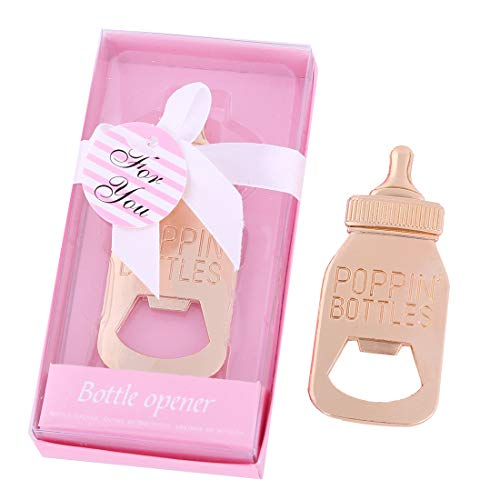 Yuokwer - 12 apribottiglie a Forma di biberon, Color Oro, Ideali Come bomboniere per Baby Shower, Matrimoni, Feste o Come Decorazioni per Feste Rosa