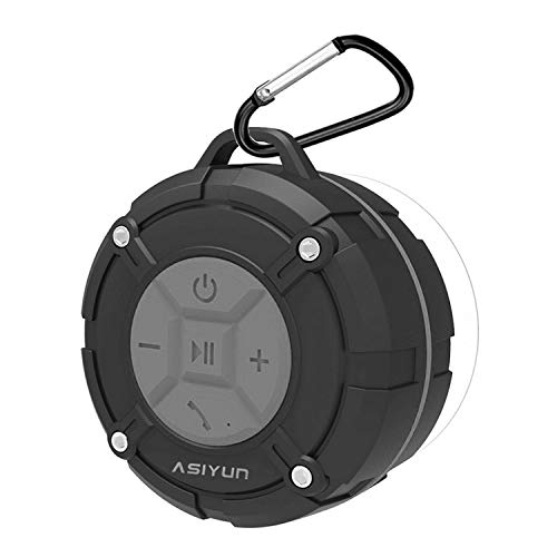 ASIYUN Portable Waterproof Wireless Shower Speakers with IPX7 HD Sound, Suction Cup, Speakers Built-in Mic, Hands-Free Speakerphone for iPhone 7/7Plus, iPad iPod and Android Phones (Gray)