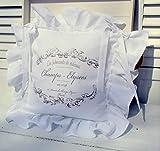 LillaBelle Stuhlkissen Bezug Elegance WEIß Volant 4 Seiten Baumwolle Shabby Landhaus Vintage Garten Stuhlkissenbezug Romantik