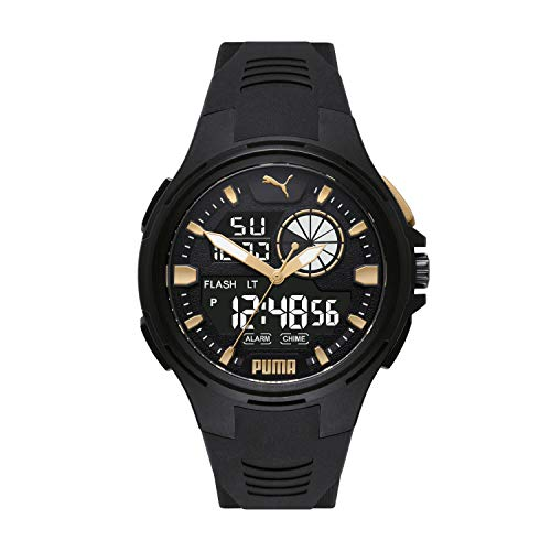 PUMA Men's Polycarbonate Quartz Watch with Polyurethane Strap, Black, 14 (Model: P5063)