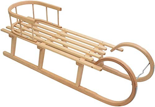 Best For Kids Hörnerrodel 120 cm mit Rückenlehne + Zugleine Rodelschlitten Davoser aus Holz bis 200 kg belastbar