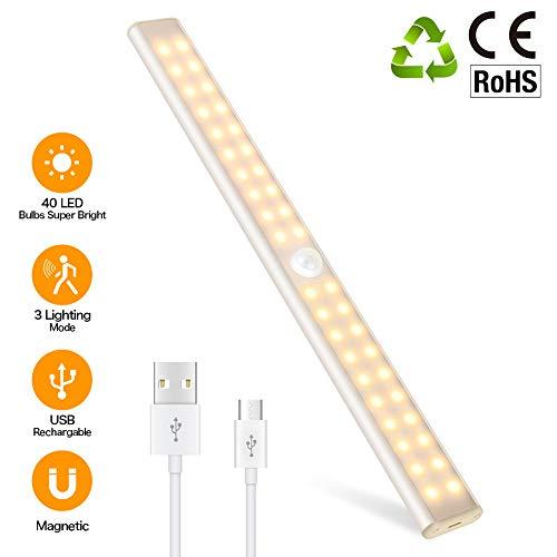 40 LED SchrankLicht, LED Schrankbeleuchtung mit Bewegungsmelder, 4 Modi, Dimmbare, 1500mAh Wiederaufladbar Batterie, mit Magnetstreifen, LED Sensor Licht für Kleiderschrank, Küche, Treppe, Notfälle