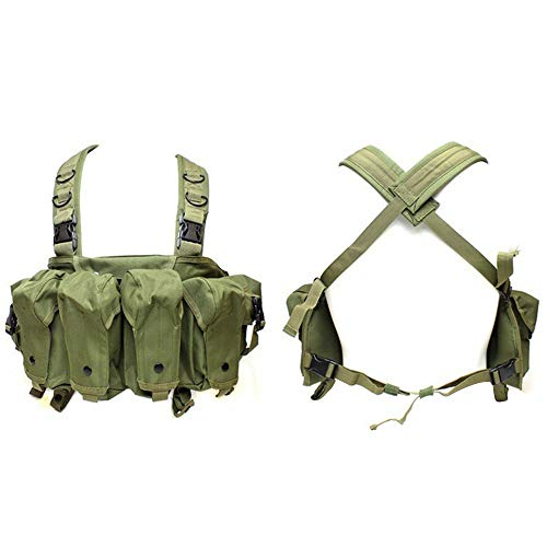AK Chest Rig Ultimate Arme Gear Military Gewehr, 6-Pocket Chest Pouch Rig Bandoleer Bandolier für Cartridge Ammo Munition Magazine Airsoft Paintball Weste Gr. One Size, grün