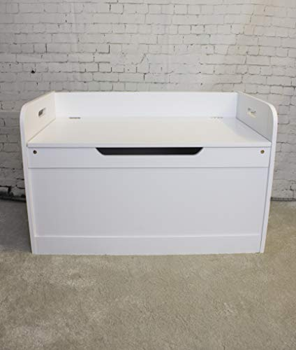 HomeZone Toy Box Large White Square Style Storage Chest For Toys And Clutter Easy Home Organisation seat ottoman