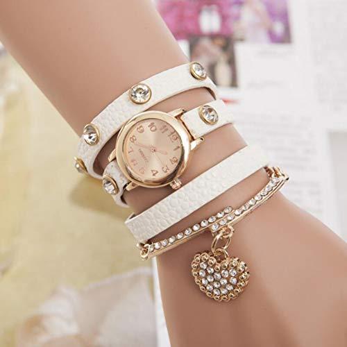 LKNNF Reloj de Oro Rosa Corazón de Diamantes de imitación Pulsera Colgante Pulseras Relojes de Mujer Vestido de Cuero de Cuarzo Remache Abrigo Relojes
