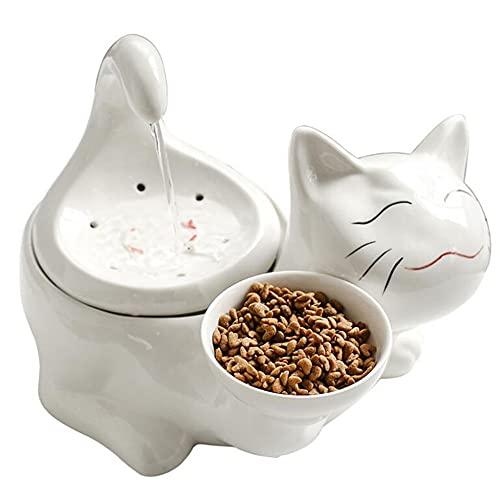 Cakunmik 2L elektrisch Katzen Trinkbrunnen Keramik Wasserfontänen Für Katzen Und Hunde Pet Wasserspender Schüssel Mit Ersatzfiltern Und Schaum Für Katze Und Hunde 360 Pet Brunnen