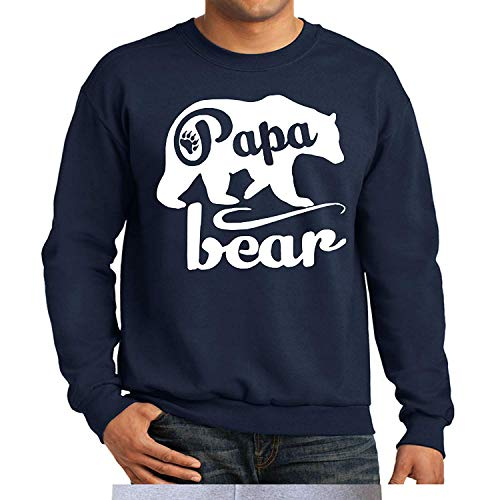 GKOUSHIXISHIQUCHUNMINSHANG Felpa Papa Bear Girocollo Felpa Camicia Day, Grande, Blu