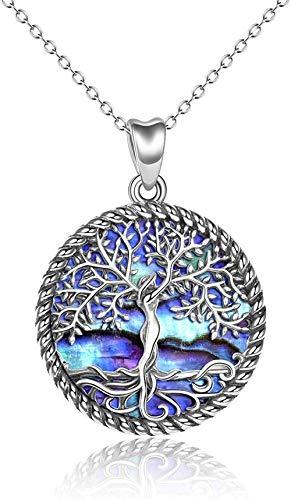 DUEJJH Co.,ltd Collar Collar de árbol de la Vida Collar con Colgante de árbol de la Vida de abulón para joyería de Mujer
