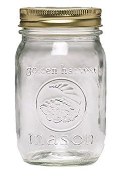 Ball Golden Harvest Regular Mouth  Vintage Fruit Design  Mason Jars  12 Pack  1 pint Clear