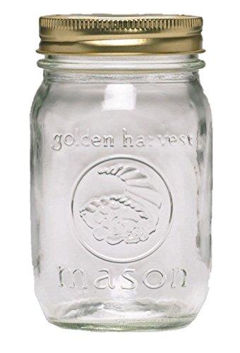 Ball Golden Harvest Regular Mouth 'Vintage Fruit Design' Mason Jars (12 Pack), 1 pint, Clear