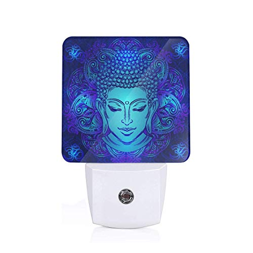 Buddha Head with Paisley Ornament Plug-in Night Light Dusk to Dawn Smart Sensor,White LED Nightlight for Bedroom,Bathroom,Kitchen,Hallway,Stairs,Hallway,Energy Efficient,Decor Desk Lamp… …