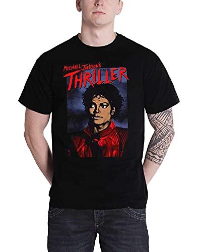 Rockoff Trade Herren Michael Jackson Thriller Pose T-Shirt, Schwarz (Black Black), X-Large