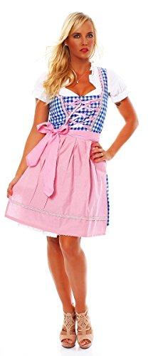 Fashion4Young 10591 Damen Dirndl 3 TLG.Trachtenkleid Kleid Mini Bluse Schürze Trachten Oktoberfest (42, Rosa Blau Weiß)