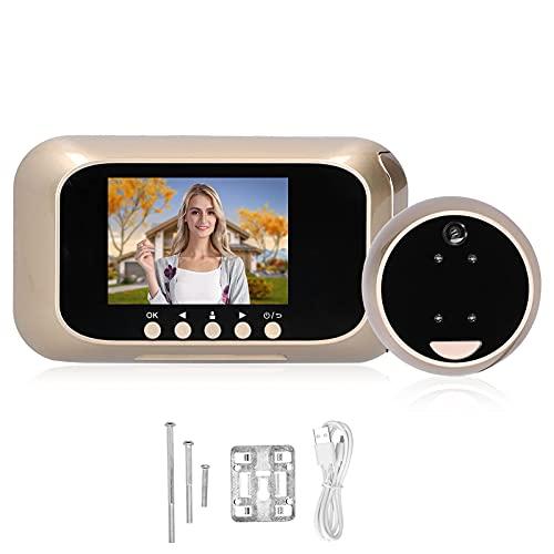 BJH Timbre Visual, antirrobo Visor de Puerta Digital Práctico plástico y Metal Aleación de Zinc 720P HD para Seguridad en el hogar