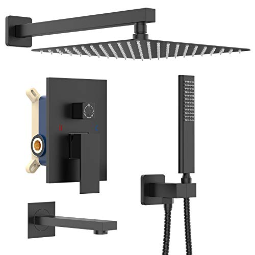Iriber Shower System with Waterfall Tub Spout 3-Function Shower Faucet Set Shower Trim Kit with 12 Inch Rain Shower Head and Handheld, Matte Black
