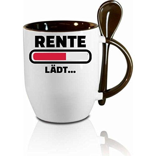 Creativ Deluxe Tasse m. Löffel Rente - lädt. Löffeltasse, Kaffeetasse mit Motiv,Bürotasse, Bedruckte Tasse mit Sprüchen oder Bildern - auch individuelle Gestaltung nach Kundenwunsch