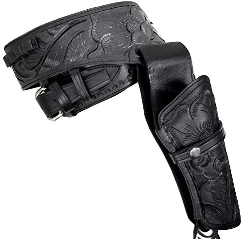 Modestone 44/45 Western Leather Holster Pistolengürtel Rig Revolver 44 Black