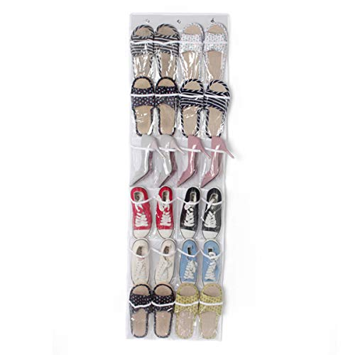 FAMKIT - Scarpiera da appendere, con 3 ganci, 24 grandi tasche trasparenti, da appendere sopra la porta, scarpiera bianca per scarpe da ginnastica con tacco alto, pantofole
