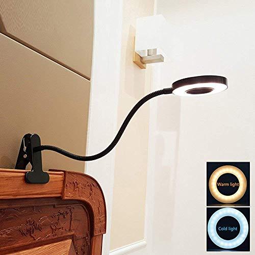 DLLT LED Klemmleuchte Bett Leselampe Dimmbar Schwarz Kleine Schreibtischlampe Klemmlampe Clip Tischlampe 6W Schwarz mit 2 Lichtfarben: Kaltweiß und Warmweiß (Ohne Adapter)
