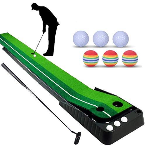 Alfombra de Putting de Golf con un Putter de golf y 6 Pelotas de Golf, Alfombra de Golf para Entrenamiento, Tapete de Práctica Estera de Golf Juego en Casa Oficina Hogar, Alfombrilla 300 * 30 cm