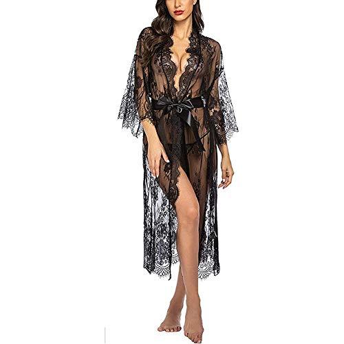 AISOO Lingerie Long Pyjama Femme Sexy avec Culotte Transparente en Dentelle Nuisette Ensemble Robe de Nuit Longue Pyjama Babydoll Robe Deshabille Poupée Vêtements de Nuit (S-L)