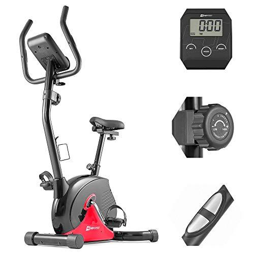 Hop-Sport Heimtrainer Fahrrad HS-030H - Fahrradergometer mit Pulssensoren & Trainingscomputer, Magnetbremse, verstellbarem Sattel - Ergometer für das Ganzkörpertraining zu Hause rot