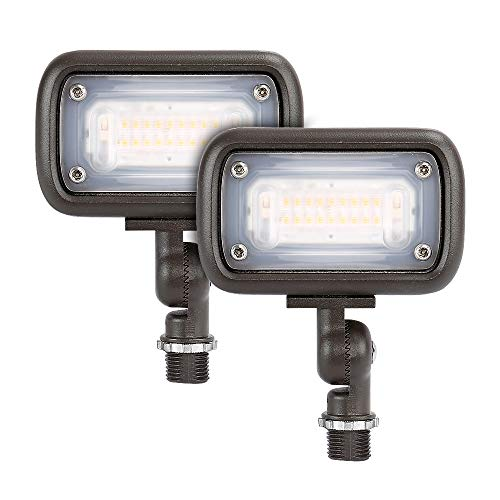 """GKOLED Outdoor Security Floodlight, 15W Super Bright LED, 50W PSMH Equivalent, 1370 Lumens, 3000K Warm White, IP65 Waterproof, 120-277V, 1/2"""" Knuckle Mount, UL-Listed"""