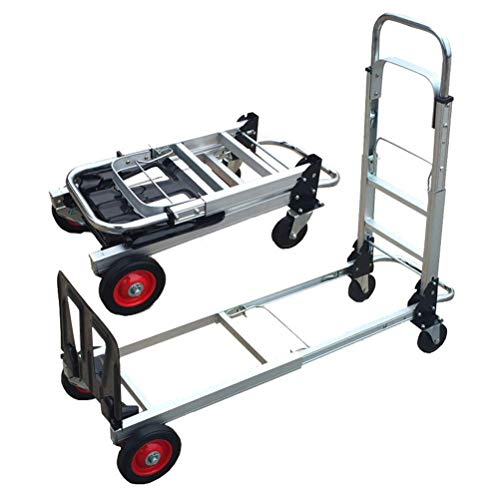 Nuokix Mehrschichtige Leichte Hand-LKW, Folding Teleskopstiel Grocery Hubwagen Und Dolly for Indoor Outdoor-Reisen,...