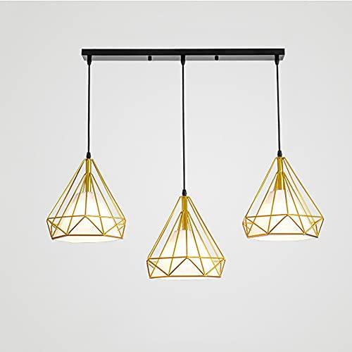 SDFDSSR Acabado Dorado Candelabro de Diamantes de 3 Luces Pantalla de lámpara Hueca Americana Creativa Lámpara Colgante Ajustable Luz Colgante Comedor Colgante Decoración de balcón Lámpara Colgante