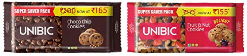 Unibic Choco Chip and Fruit n Nut Cookies Combo, 500g x 2