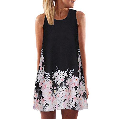 Lialbert T-Shirt-Kleid Dame Off-Shoulder Bedrucktes äRmelloses Minirock Swing-Kleid Schulterfreies Kleid TräGerloses Blumenmuster Freizeit Lockerer Kleider GrünSchwarz
