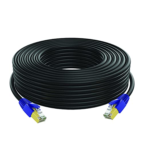 Cat7 Outdoor Ethernet Cable, 10GBPS Shielded Durable High Speed Internet LAN Cable, RJ45, Waterproof and Direct Burial, 300 Feet