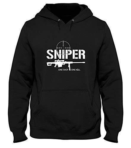 T-Shirtshock Sudadera con Capucha Hombre Negro DEC0319 Sniper CECCHINO