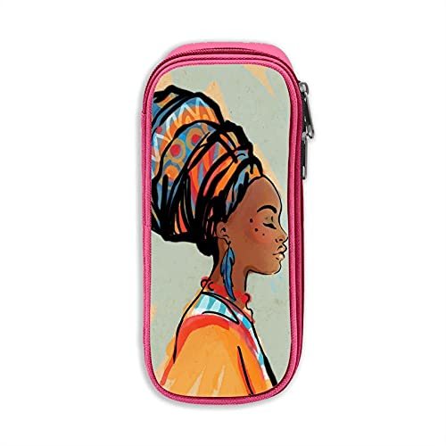 Mujer africana con pendiente de gran capacidad lápiz lápiz estudiante caja de papelería bolsa de almacenamiento cosmético