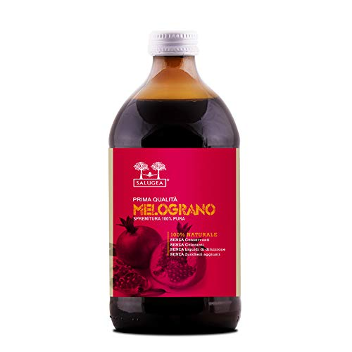 Succo di Melograno 100% puro Salugea - Integratore Antiossidante e Rigenerante con Azione Antidegenerativa e Detossicante, 500 ml, in VETRO SCURO