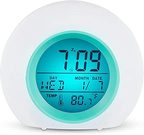 JOK Despertador para niños, más Reciente Mejora de Despertar Reloj Temperatura 7 Colores LED Luz de Noche para niños Dormitorio Adultos Mejor Regalo para niños