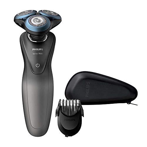 Philips S7960/17 7000, afeitadora inteligente en seco y húmedo con peinado de barba SmartClic, color gris y azul