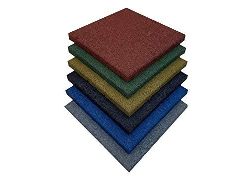 Losetas de caucho especial para parques infantiles y gimnasios, suelos para parques infantiles medida de 50 x 50 x 4 cm (1 loseta (50 x 50 cm), Negro)
