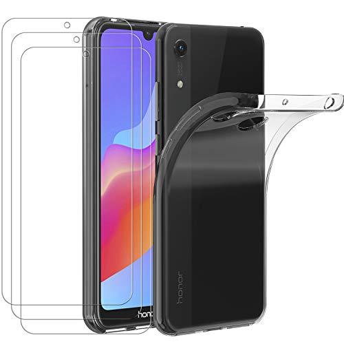 ivoler Hülle für Huawei Y6 2019 / Huawei Y6s 2019 / Huawei Honor 8A + 3X Panzerglas, Durchsichtig Handyhülle Transparent Silikon TPU Schutzhülle Hülle Premium Hartglas Schutzfolie Glas