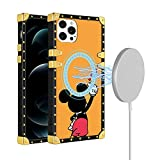 Magnetic Case Designed for iPhone 12 Mini, Compatible with Magsafe Charger Wireless Charging [Built-in 38 Magnets], Fashion Luxury Mickey Character Fully Protective Bumper Case for iPhone 12 Mini