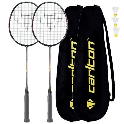 DUNLOP Carlton Elite 7000Z Badminton Rackets x 2 + Protective Covers + 3 Shuttles